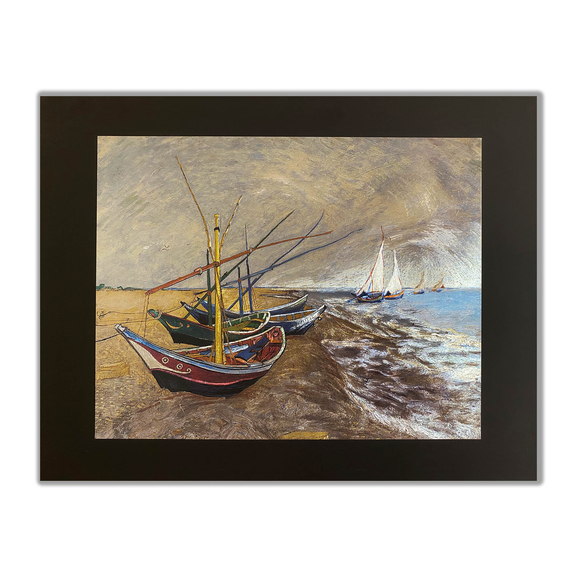 Boats on the Shore Handmade Gravure | Foil Art | Etching