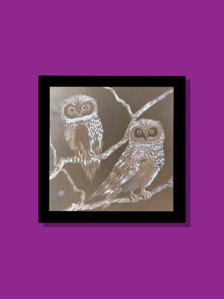 two-owls-silver-40-x-40-gravure-foil-art-etching
